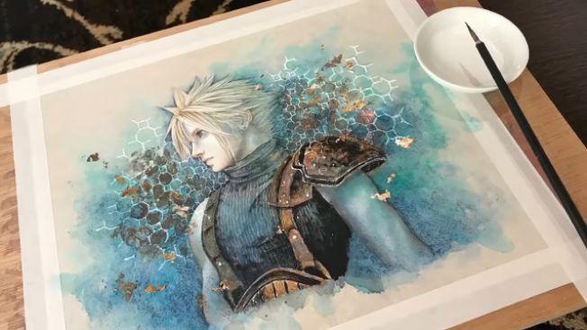 Hasil akhir lukisan Cloud Strife karya Miwa Hiduki. (Miwa Hiduki;s Channel)