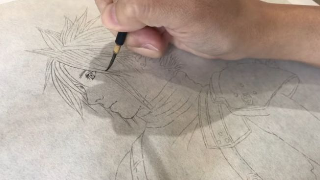 Tahap pertama: Menggambar sketsa Cloud (Youtube: Miwa Hiduki's Channel)