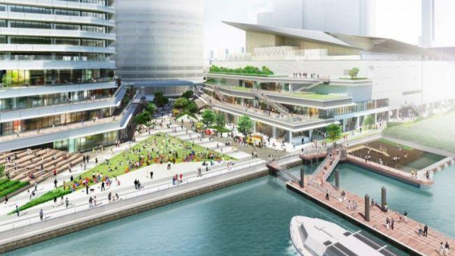Waters Takeshiba, salah satu tempat wisata baru di Tokyo yang akan segera buka di tahun 2020. (wow-japan.com)