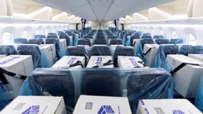 Box berisi peralatan medis dalam pesawar ANA, diberi seatbelt seperti manusia (soranews24.com)