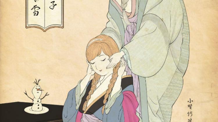 cantiknya disney princess dan sailor moon versi ukiyoe