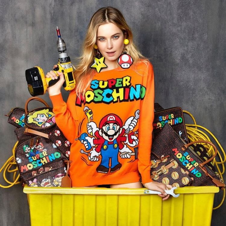 Super Moschino, kolaborasi game Super Mario dengan brand Moschino. (instagram: luisaviaroma)