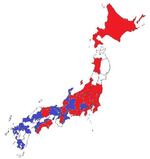 Peta yang menggambarkan thema park manakah yang lebih disukai oleh mayoritas responden dari setiap prefektur (merah untuk Disney, biru untuk USJ, dan putih untuk prefektir di mana USJ dan Disney seri).- (soranews24.com)
