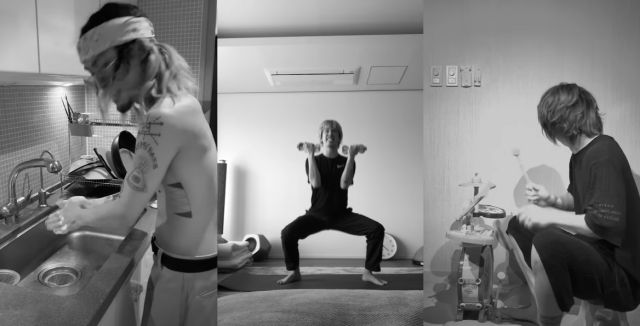 Salah satu scene dalam video. Memperlihatkan Taka dan kawan-kawan melakukan kegiatan