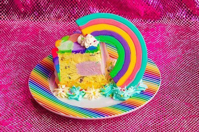 Colourful Rainbow Ice Cake