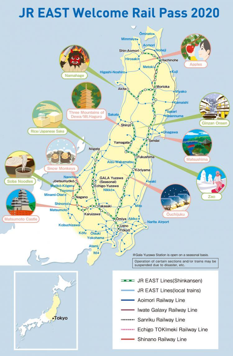 peta rute kereta jr east