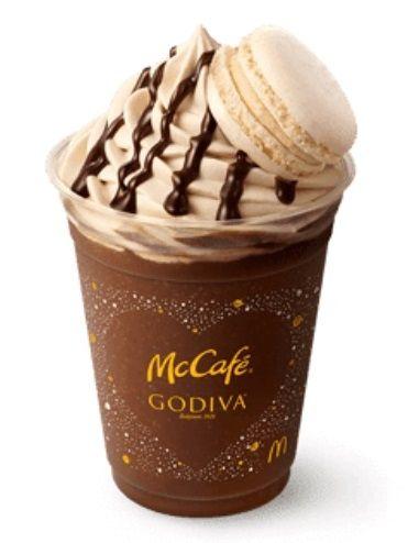 godiva chocolate espresso frappe and macaron