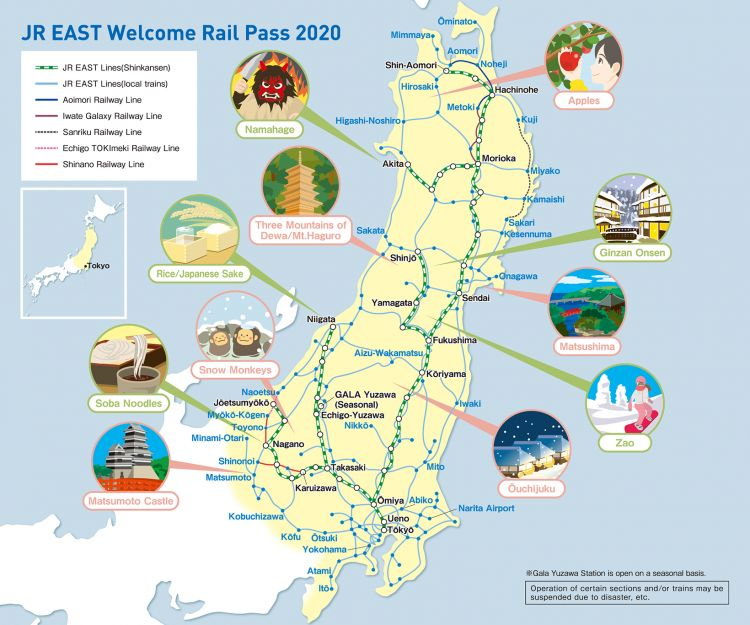 jr east welcome rail pass 2020 map