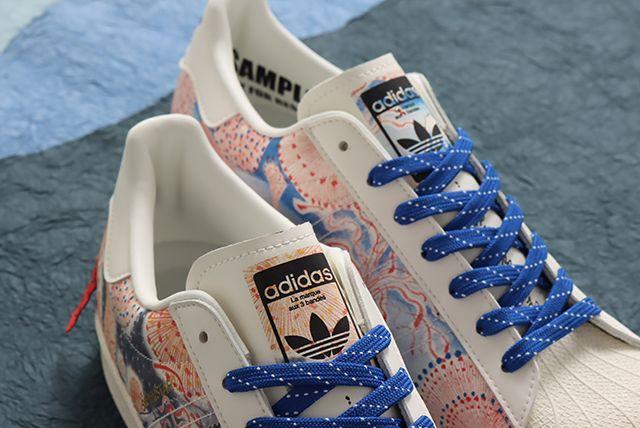 Desain tali Sneaker Kolaborasi Adidas dan Ukiyoemon