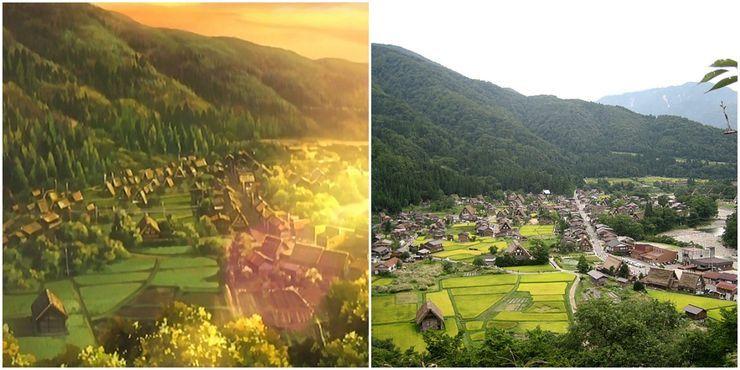 Shirakawa-go, sebuah desa kecil di pegunungan dan merupakan inspirasi bagi Hinamizawa