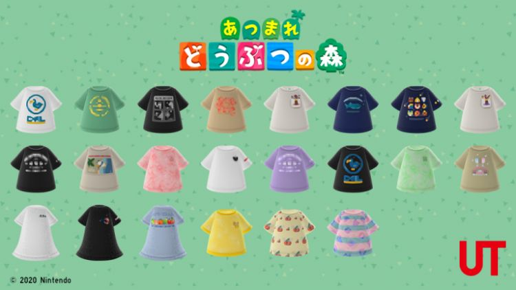 salinan digital kaus Animal Crossing Uniqlo